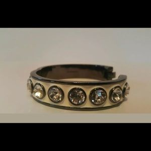 Givenchy white & pewter rhinestone bracelet